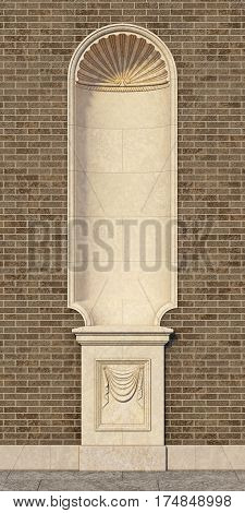niche in the classic style with a vase on the wall of brown brick. 3d rendering