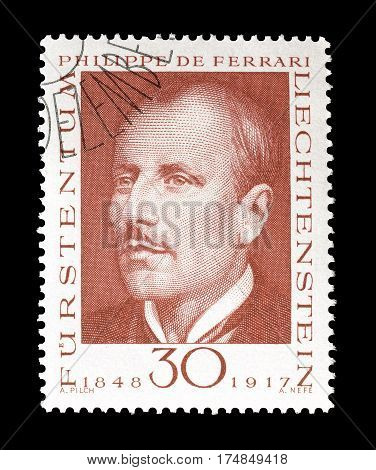LIECHTENSTEIN - CIRCA 1968 : Cancelled postage stamp printed by Liechtenstein, that shows Philipp Von Ferari.