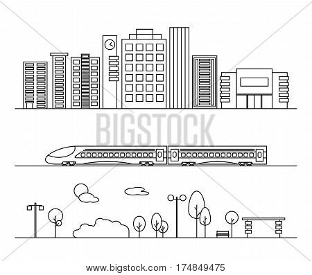 Vector city elements in outline style. Illustrations with buildings houses train and nature elements. Ideal for business web publications graphic design. Flat style vector illustration.