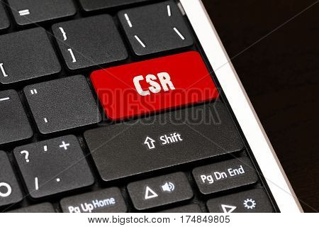 Csr On Red Enter Button On Black Keyboard