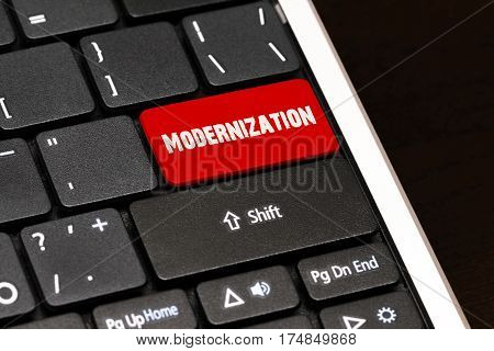 Modernization On Red Enter Button On Black Keyboard
