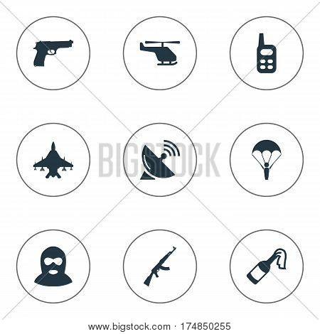 Vector Illustration Set Of Simple Terror Icons. Elements Helicopter, Kalashnikov, Paratrooper And Other Synonyms Communication, Gun And Bomb.