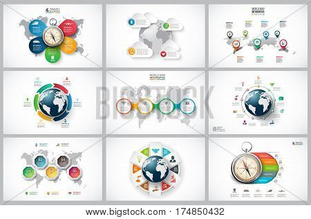Vector infographics set with earth, map and compass for global, travel infographic. Business concept with 4, 5, 6, 7, 8 and 9options, parts, steps or processes.
