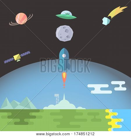 Rocket launch to the Moon flat style vector illustration