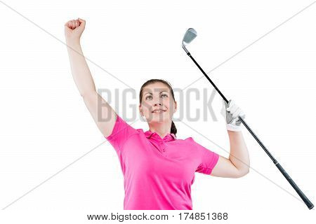 Horizontal Portrait Of A Happy Jubilant Winner In The Game Of Golf On A White Background