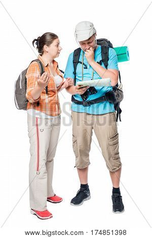 A Couple Of Tourists On A White Background Arguing, Isolated Portrait