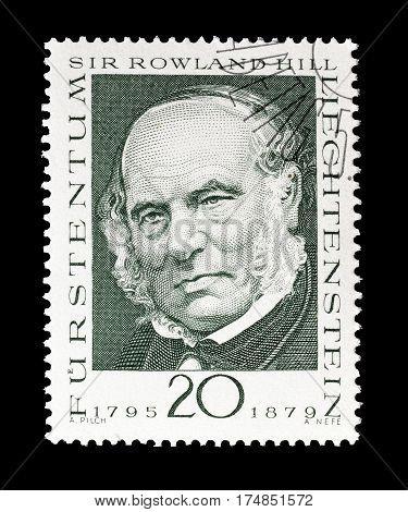 LIECHTENSTEIN - CIRCA 1968 : Cancelled postage stamp printed by Liechtenstein, that shows Sir Rowland Hill.