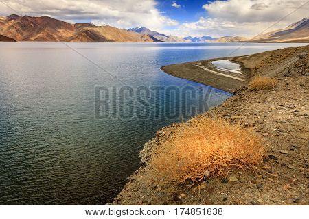 Pangong Tso - alpine lake in the Himalayas on the China-India border