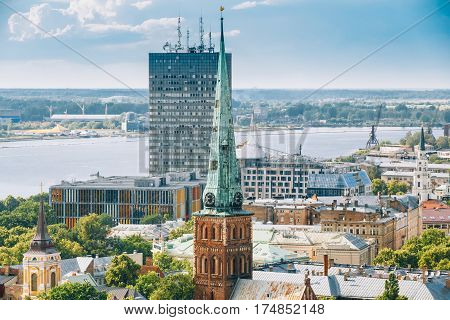 Riga, Latvia. Summer Riga Cityscape. Top View On Famous Landmark - St. James's Cathedral, or the Cathedral Basilica of St. James. The church is sometimes wrongly called St. Jacob's.