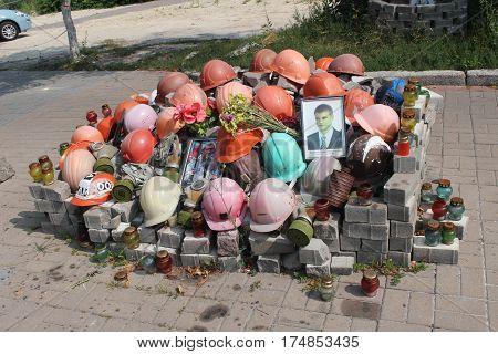 KYIV, UKRAINE -- July 29 2016: Memorial to the people killed on Maidan Square, Kyiv, Ukraine