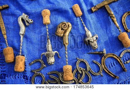 Original handmade corkscrews for uncorking bottles of wine