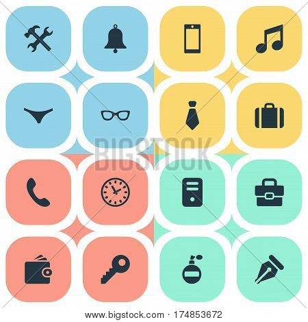 Vector Illustration Set Of Simple  Icons. Elements Eyeglasses, Billfold, Password And Other Synonyms Necktie, Key And Bag.