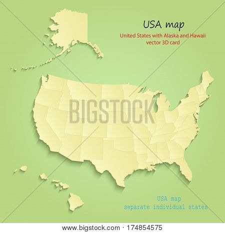USA with Alaska and Hawaii map separate individual states green yellow vector
