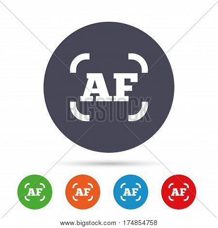 Autofocus photo camera sign icon. AF Settings symbol. Round colourful buttons with flat icons. Vector