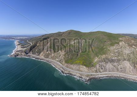 Aerial view of Point Mugu and Pacific Coast Highway in Ventura County, California.