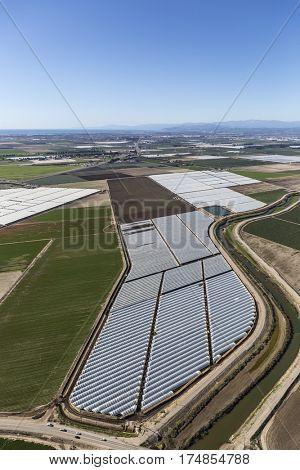 Aerial view of farm fields near Oxnard and Camarillo, California.