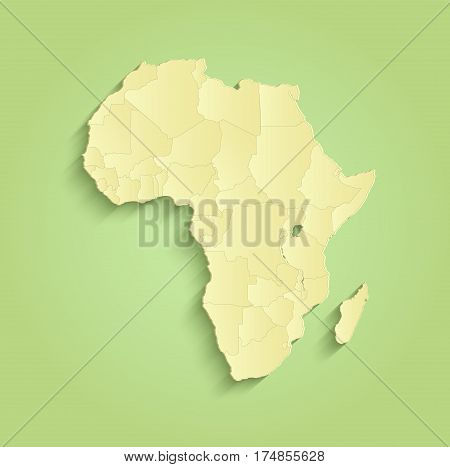 Africa map separate individual states green yellow raster