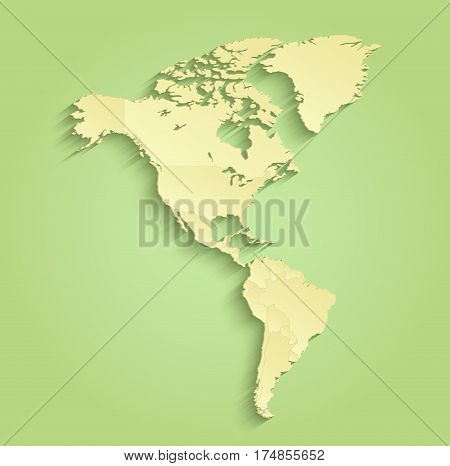 America map separate individual states green yellow raster
