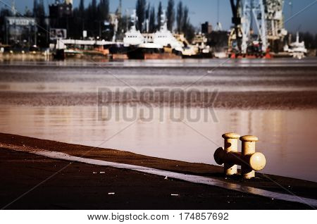 Poland. City Szczecin. Evening view of the river port.