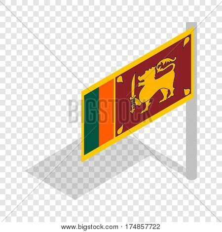 Flag of Sri Lanka with flagpole isometric icon 3d on a transparent background vector illustration