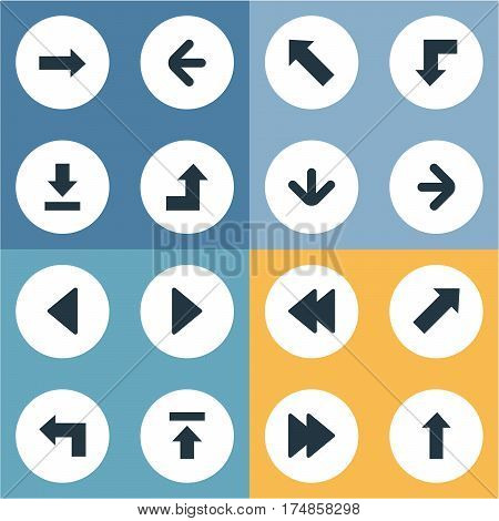 Vector Illustration Set Of Simple Pointer Icons. Elements Pointer, Left Direction, Increasing And Other Synonyms Transfer, Arrow And Upper.