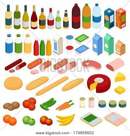 Isometric big set of foodstuff. Vector food Icons set