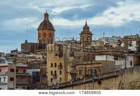 View To Old City And St. Lawrence's Church In Il-birgu