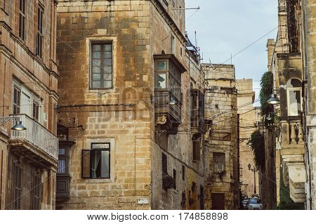 Street of Cospicua Malta, residental buildings in center