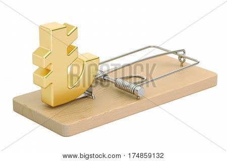 mousetrap with lira sign 3D rendering isolated on white background