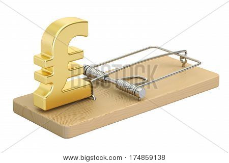 mousetrap with pound sterling sign 3D rendering isolated on white background