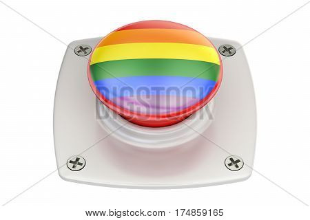 push button with rainbow gay flag 3D rendering