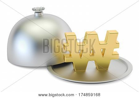 Restaurant cloche with gold won symbol 3D rendering