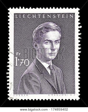 LIECHTENSTEIN - CIRCA 1964 : Cancelled postage stamp printed by Liechtenstein, that shows Hans Adam Pius.