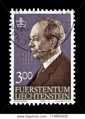 LIECHTENSTEIN - CIRCA 1963 : Cancelled postage stamp printed by Liechtenstein, that shows Franz Josef.