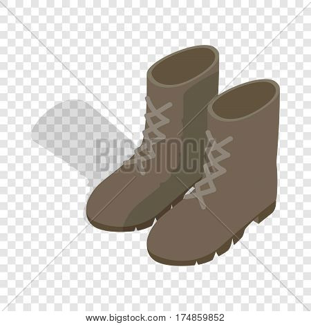 Combat military boots isometric icon 3d on a transparent background vector illustration