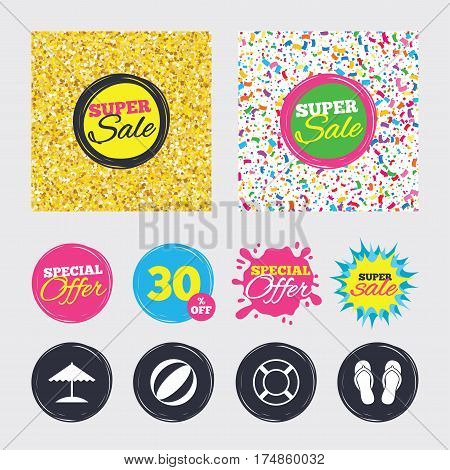Gold glitter and confetti backgrounds. Covers, posters and flyers design. Beach holidays icons. Ball, umbrella and flip-flops sandals signs. Lifebuoy symbol. Sale banners. Special offer splash. Vector