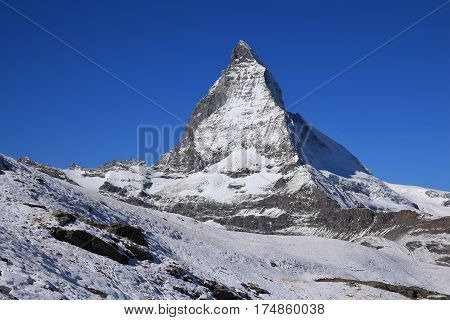 Majestic Matterhorn in autumn. View from Riffelberg.