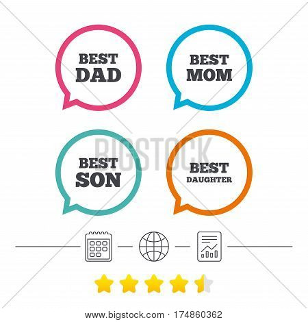 Best mom and dad, son and daughter icons. Award symbols. Calendar, internet globe and report linear icons. Star vote ranking. Vector