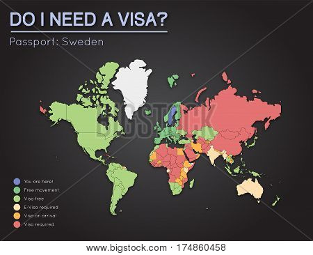 Visas Information For Kingdom Of Sweden Passport Holders. Year 2017. World Map Infographics Showing