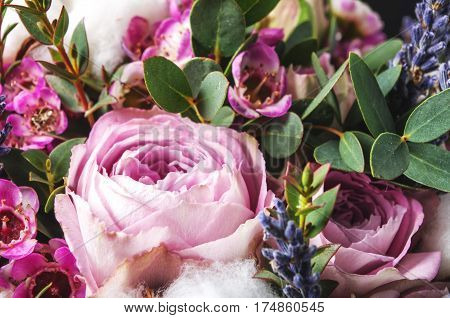 Close Up Bouquet With Pink  Rose
