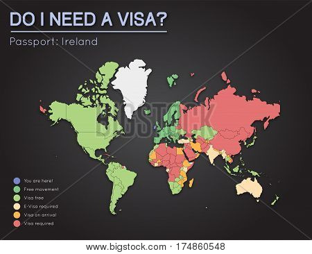 Visas Information For Ireland Passport Holders. Year 2017. World Map Infographics Showing Visa Requi