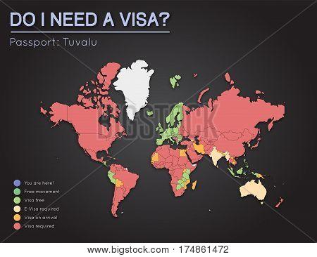 Visas Information For Tuvalu Passport Holders. Year 2017. World Map Infographics Showing Visa Requir