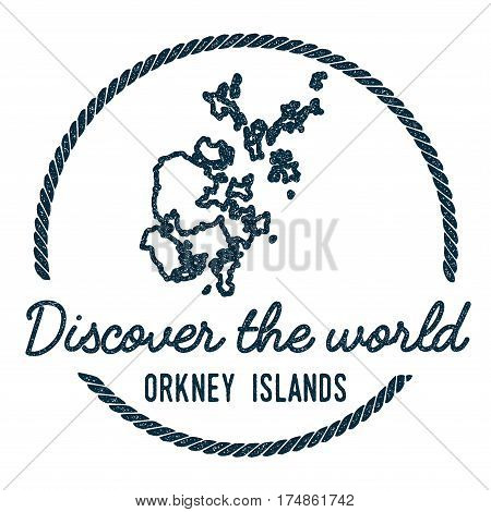 Orkney Islands Map Outline. Vintage Discover The World Rubber Stamp With Island Map. Hipster Style N