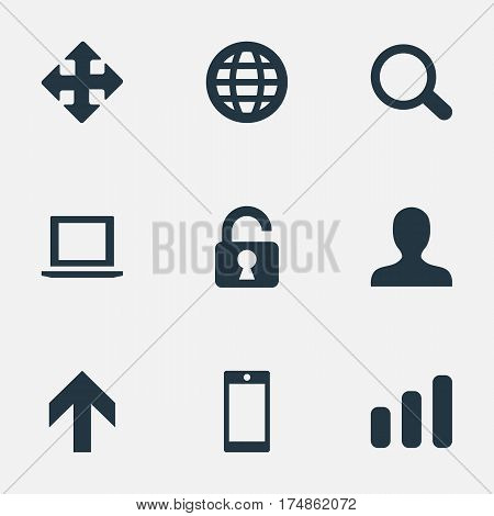 Vector Illustration Set Of Simple Apps Icons. Elements Statistics, Arrows, Notebook And Other Synonyms Zoom, Enlarge And Notebook.