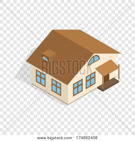 One storey house with porch isometric icon 3d on a transparent background vector illustration