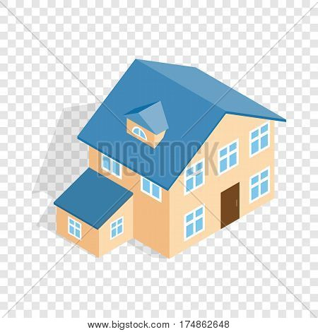 Two storey house with annexe isometric icon 3d on a transparent background vector illustration