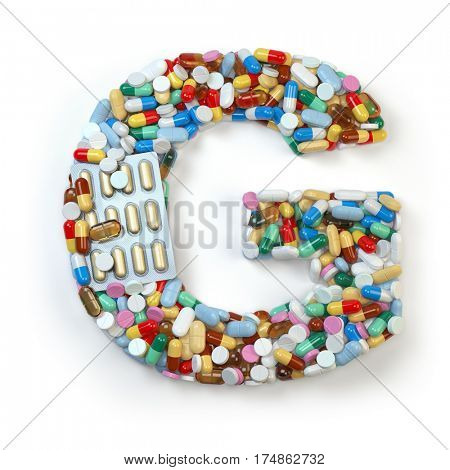 Letter G. Set of alphabet of medicine pills, capsules, tablets and blisters isolated on white. 3d illustration