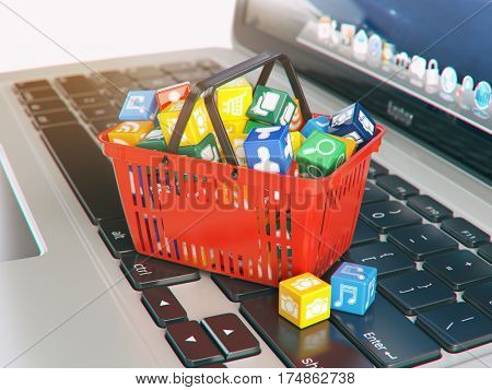 Laptop computer application software icons in the shopping basket. Store of apps concept. 3d illustration