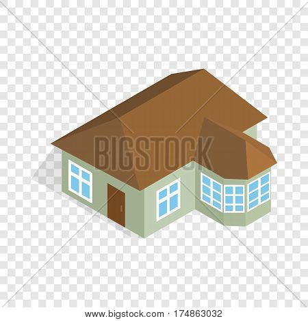 One storey house with veranda isometric icon 3d on a transparent background vector illustration