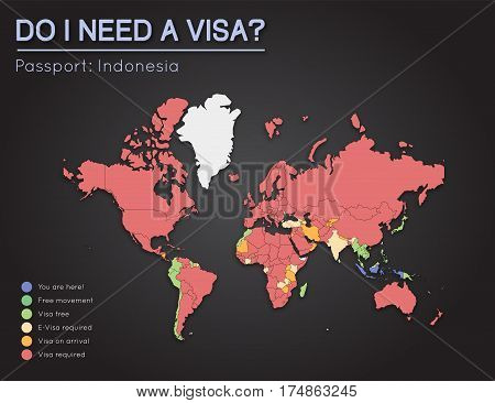 Visas Information For Republic Of Indonesia Passport Holders. Year 2017. World Map Infographics Show